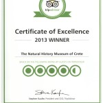 Certificate of Excellence 2013 for Natural History Museum of Crete